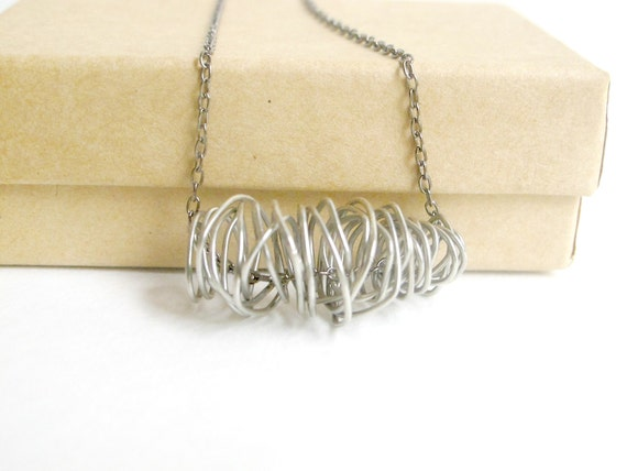 Silver Toned Necklace - Wire Wrapped Coil Spring
