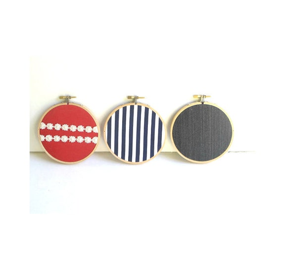 "SALE Nautical Theme - 4"" Embroidery Hoops Wall Decor - Set of 3 pieces ( Red, Navy Stripes, Dark Blue)"