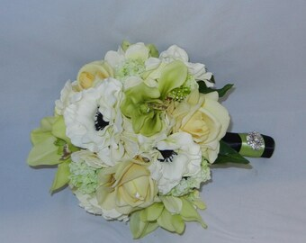 Real Touch Bridal Bouquet with Yellow Real Touch Roses, Green Orchids, White Anemones, Yellow Hydrangeas and Green Snowball Hydrangea blooms