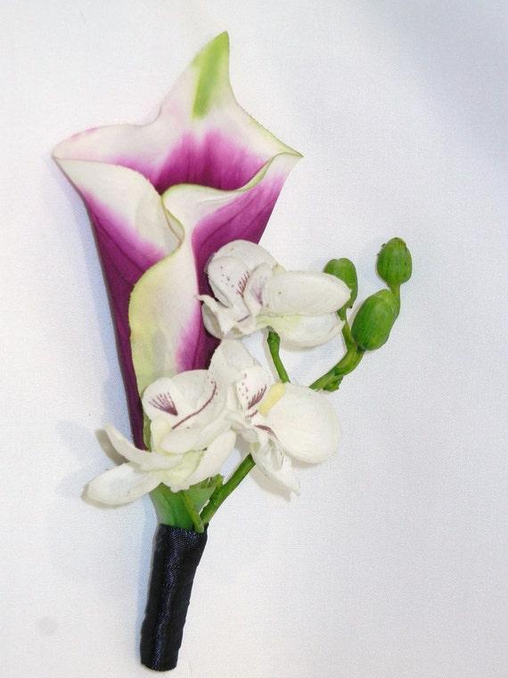 Purple calla lily boutonniere