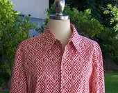red white and pink geometric Op art snap front shirt - ML
