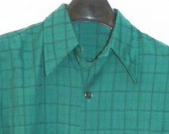 Vintage 70s Green Don Loper Shirt subtle stripe - S