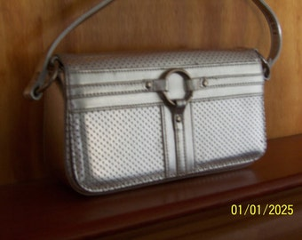 silver boxy purse with perforated detail 70s 80s