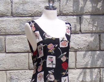 80s grunge dress tiny flower big roses rayon crepe reversible M