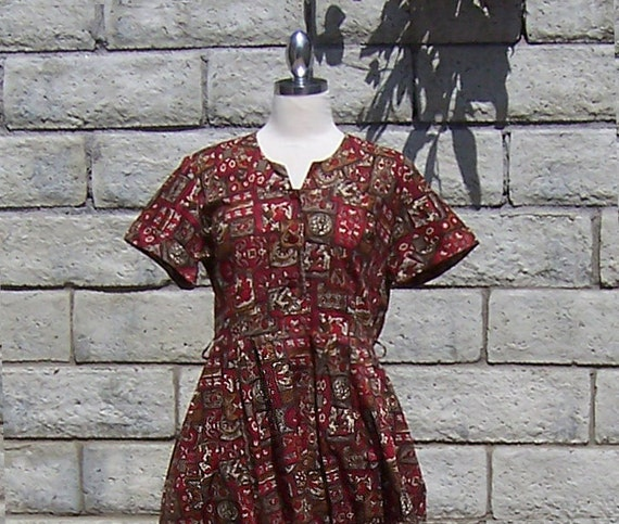 scarlet red and brown batik day dress 50s shirtwaist
