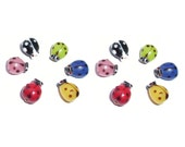 Handmade Lampworked Glass Beads Ladybugs Mixed Colors Pkg of 12
