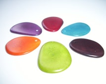 Tagua Nut Thin Slices Mixed Colors   Medium Size Pkg of  6