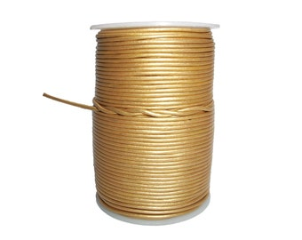 Round Leather Cord Gold 1mm 25meters