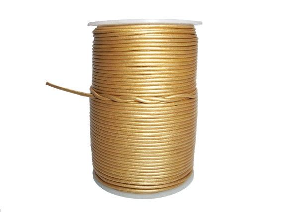 Round Leather Cord Gold  2mm 5meters