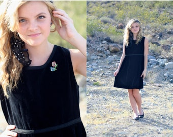 Vintage 1960s Black Dolly Mod Dress