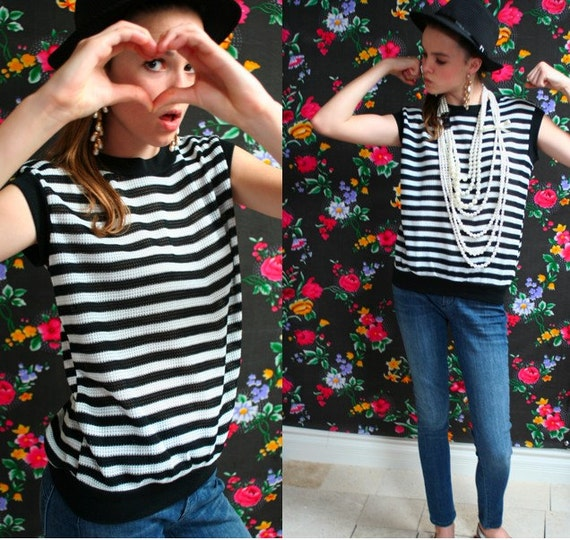 Vintage 80s Black and White Stripe MUSCLE Tee