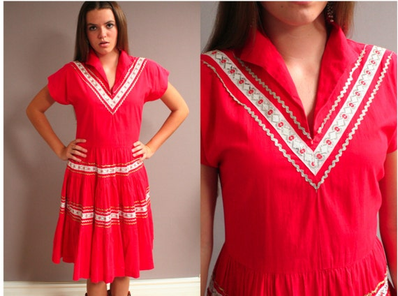 1950s Red Western Patio Dress