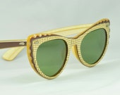 Vintage Cat Eye Sunglasses - CALOBAR, So Cute with Cutout Scallops in Gold and Brown , Plaid Front - Ready to Wear