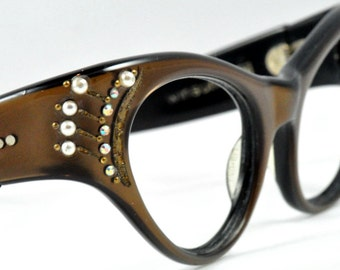Vintage Cat Eye Glasses with Pearls and Rhinestones, Chocolate Brown and Black
