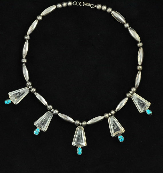 Silver & Turquoise Zuni Necklace or Choker, Stamped C.V. Hill, Old Pawn