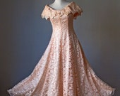Lace Dress / Pale peach / Victorian lace / Silk Satin / Wedding / Party / Gown / Vintage
