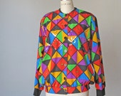 Vintage / bomber / jacket / squares / colorful / sequin  / granny