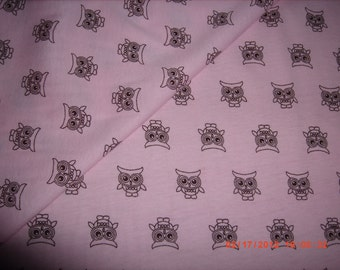 Brown Owls on Pink Jersey Knit Fabric