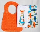 Hello Little One Gift Set - Necktie Applique Onesie, Orange Minky Bib and Burp Cloth in Planes for your Baby Boy