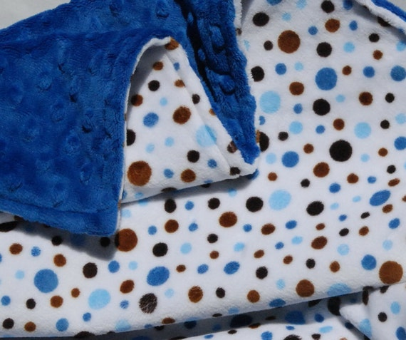 READY to SHIP SALE 12 Dollars Off - Double Minky Baby Blanket for your Baby Boy -  Blue and Mocha Bubbles and Bright Blue Minky Dot