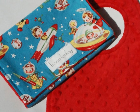 Baby Bib and Burp Cloth Set- Red Minky Bib and Burp Cloth in Retro Rocket Rascals by Michael Miller - Ready to Ship