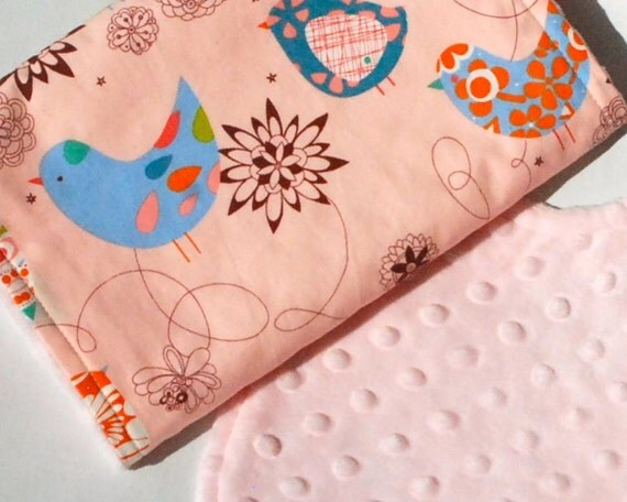 Baby Bib and Burp Cloth Set - Light Pink Minky Bib and Burp Cloth in Pink Starlings by Alexander Henry - Ready to Ship