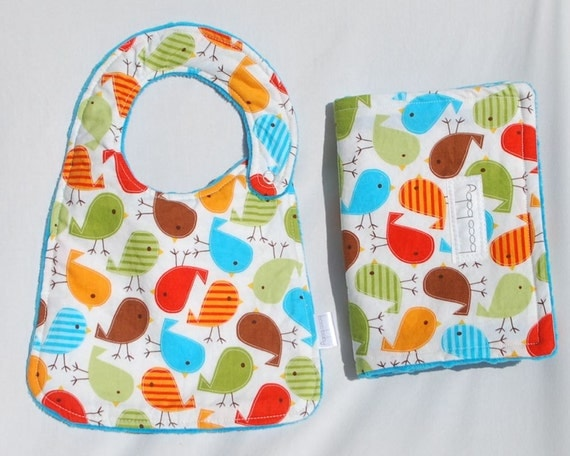 Baby Bib and Burp Cloth Set -  Bib and Burp Cloth in Bermuda Birds and turquoise blue minky - Ready to Ship