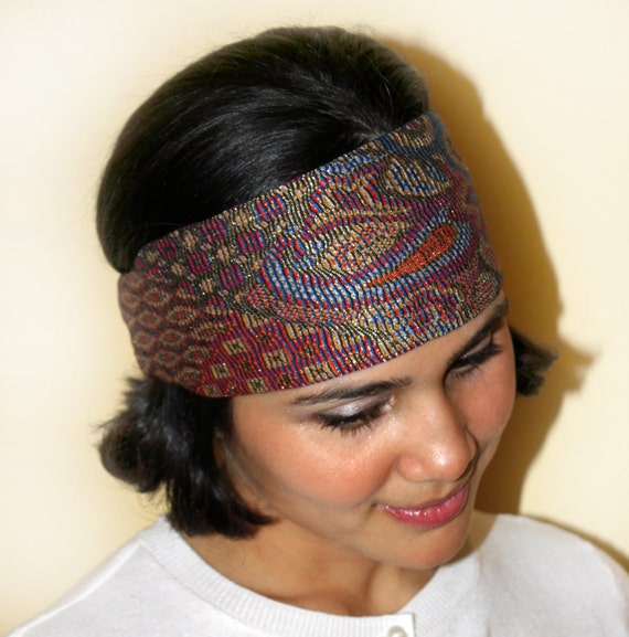 Paisley print headband, Gypsy look costomade, extremely colorful and great for so many wears