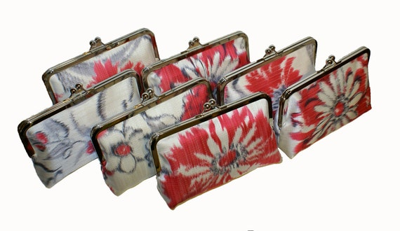 Seven Clutches Brides mades set, cotton fabric with natural and red, pink, grey flowers, assorted, wedding, one of a kind, bag, purse