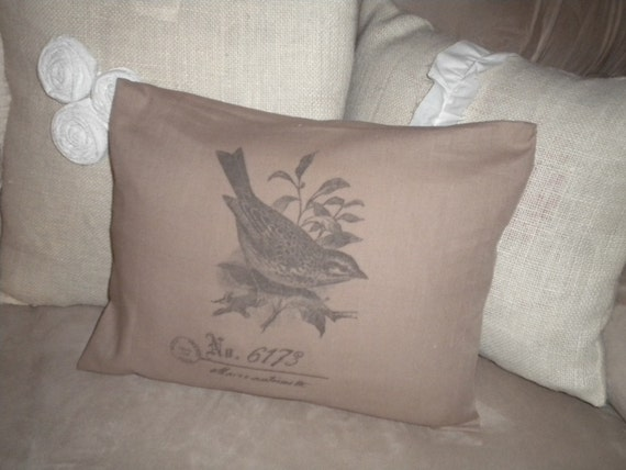 12X16 Pillow Cover with Bird and French Postmark