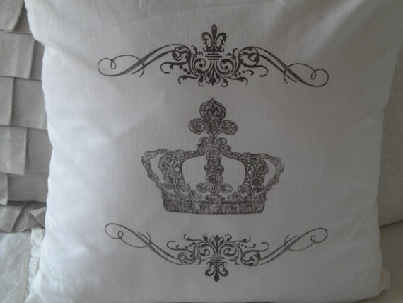 White Cotton Pillow with Crown and Scrolls- READY TO SHIP