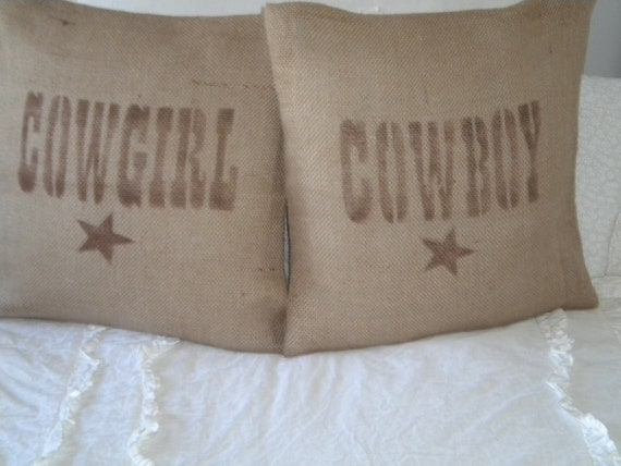 Set of Burlap Cowboy/Cowgirl Pillow Covers  READY TO SHIP