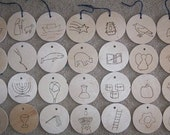 Jesse Tree Symbols - Wood  Ornaments - Advent - McCaughrean Style - Shipping Included