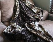X-LARGE Brown Swirl Minky & Leopard Faux Fur Blanket/Throw