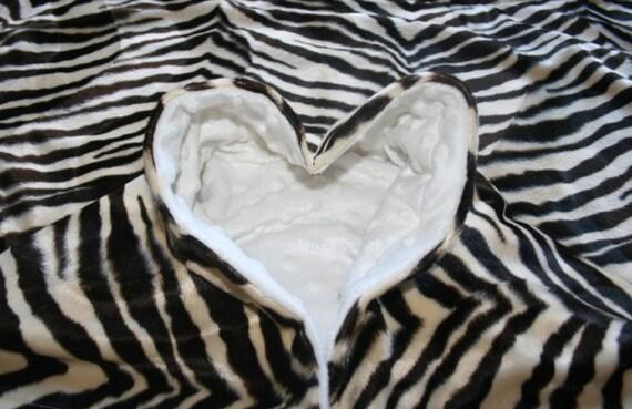 White Minky & Brown Zebra Blanket