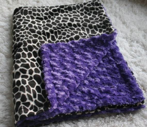 Purple Swirl Minky & Giraffe Fur Blanket