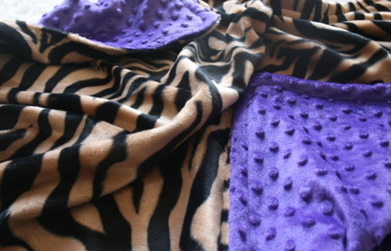 Purple Bubble Minky & Dark Zebra Fur Blanket