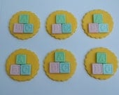 Baby Shower Edible Cupcake Toppers- Baby Blocks (12)