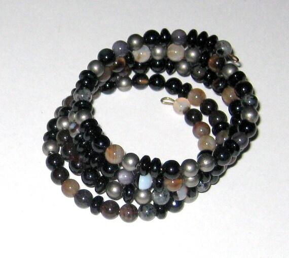 SALE Stone Memory Wire Bracelet Fabulous Gemstones