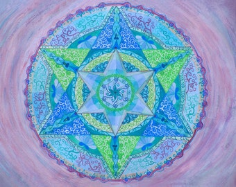 Ana Bekoach- Powerful Prayer - Fine Art Signed Print - Mandalamagic1 Original Mandala Art - Rainbow Art - Colorful Art - Home Decor