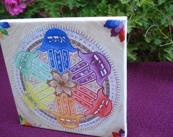 Original Mandala Art: BLESSED YOU MANDALA - With hamsa (hand of Fatima) and rainbow colors -Fine Art Signed Print