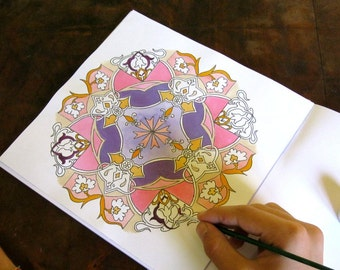 Familly Fun - Unique Mandala Coloring Book Kit - Colouring Mandala Book -Activity Book - Coloring Page - Coloring Sheet - Whimsical Coloring