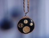 vintage gold coin medallion necklace - black enamel