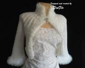 WHITE  FLUFFY  JACKET Bolero, Bridal White Shrug Bolero, Wedding Hand Knitted Bolero Jacket