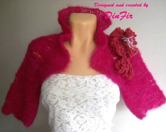 SALE Hand Knitted BOLERO / Wedding Accessories Shrug Jacket Cardigan Cape Romantic / Women Elegant Crochet Capelet Vest Brooch Gift Ideas