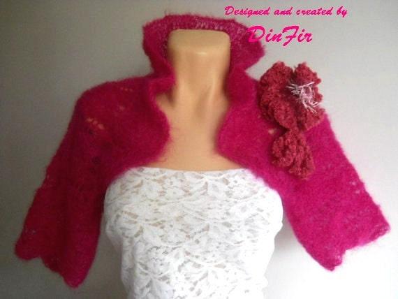 SALE Hand Knitted BOLERO / Wedding Accessories Shrug Jacket Cardigan Cape Romantic / Women Elegant Crochet Capelet Vest Brooch Gift Ideas