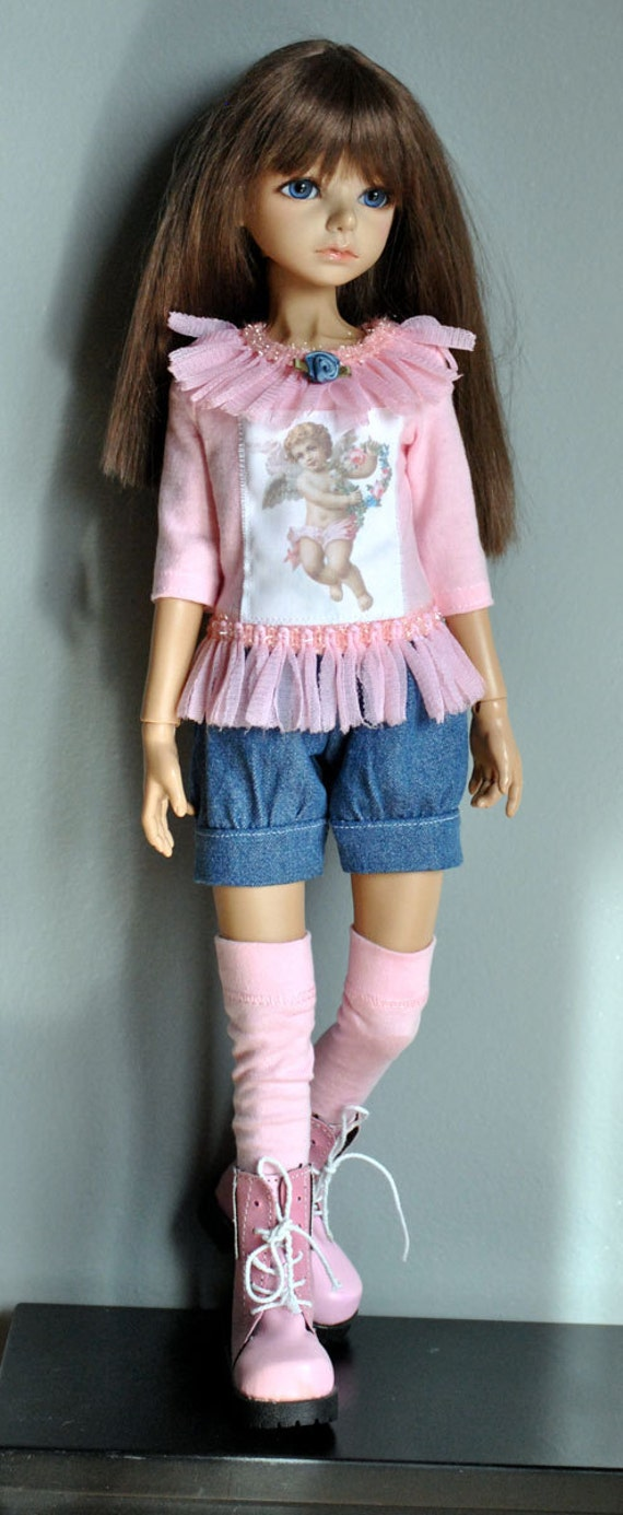 OOAK msd bjd outfit, 3 piece embellished t-shirt, denim bubble shorts and thigh high stockings