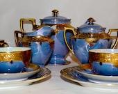 Incredible Antique  Art Nouveau Tea Set Porcelain Gold Embellished Design Luster Glaze cl930