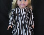 """hand sewn zebra striped American Girl and other 18"""" doll dress"""