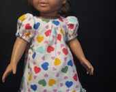 Reduced! primary color heart nightgown for american girl doll